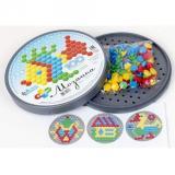 Мозаика 100 дет. Шестигранная (4 цвета, круглая пластиковая коробка) (для детей от 3-х лет) 02074, (ООО