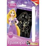 LORIГравюраGoldMetallic-мини Disney Принцессы. Милая Рапунцель (основа с контуром рисунка, штихель, инструкция) (от 6 лет) Грд004, (ООО