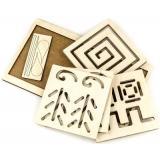 WoodLandToys Межполушарная доска. Квадрат (рамка-вкладыш, 6 досок с трафаретами, 2 пары стилосов) (дерево) (от 3 лет) 134102, (ООО