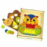 WoodLandToys Мозаика Ежик и сова (рамка-планшет, набор фигурок) (дерево) (от 3 лет) 067305, (ООО