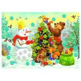 МозаикаИзПуговиц Снеговик и лесные звери (А5, комплект материалов для изготовления) (в пакете) (от 3 лет) М-7029, (Рыжий кот)