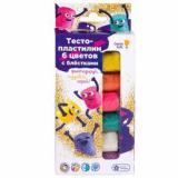 GenioKids Тесто-пластилин (6 цветов*30гр, с блестками) (в еоробке) (от 3 лет) TA1091, (ООО