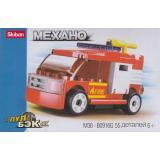 КонструкторSLUBAN 55 дет. PowerBricks. Механо. Пожарная машина (инерционный) (в коробке) (от 6 лет) M38-B0916G, (Рыжий кот)