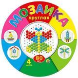Мозаика 80 дет. (d=13мм, 4 цвета, круглая плата) (пластик) (от 3 лет) М-5655, (Рыжий кот)