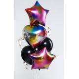 4877836 Букет из шаров Радужный (10 шаров, сердце, звезда, латекс, фольга), (Sima-land)